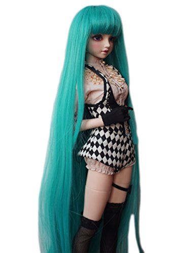1/3 BJD SD Doll Wig High Temperature Synthetic Fiber Long Green Straight with Full Fringe Hair Wig for 1/3 1/4 1/6 BJD SD Doll