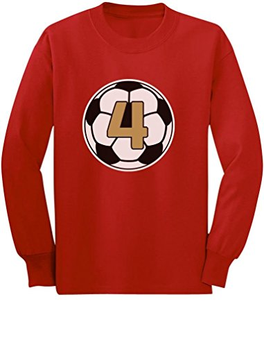 4 Year Old Fourth Birthday Gift Soccer Toddler/Kids Long Sleeve T-Shirt 4T Red