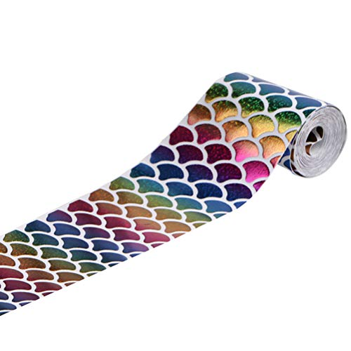 Healifty 1 Roll Sequins Mermaid Scale Laser Glitter Ribbons DIY Crafts Ponytail Holder Headband Hair Tie Gift Scrapbooking Festival Wedding Party Decoration ()