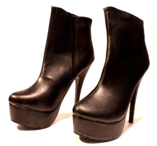 Erogance Velour Plateau Stiefeletten - Botas de cuero sintético para mujer negro - negro