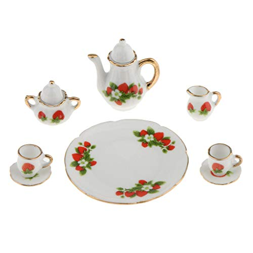 Colonial Saucer - NATFUR 8pcs Dollhouse Miniatures Strawberry Ceramic Tea Set Pot Cup Saucer Plate