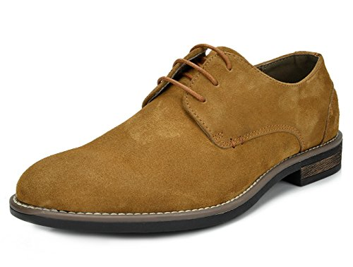 AN-08 Camel Suede Leather Lace Up Oxfords Shoes - 7 M US (Lace Up Suede Oxfords)