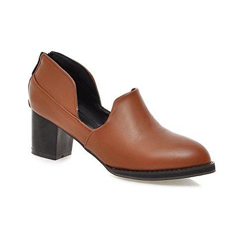 Amoonyfashion Ronde Riep Microfiber Stevige Dichte Hak Pumps-schoenen Bruin