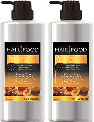 Hair Food Gluten Free Quench Shampoo with Peach & Honey Fragrance, 17.9 Fluid Ounce (Pack of 2) Hair Food