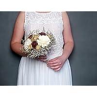 Medium Rustic Wedding Bouquet Ivory and Gold Sola Flowers Burgundy Cedar Roses Dried Limonium Burlap Lace Pearl Pins