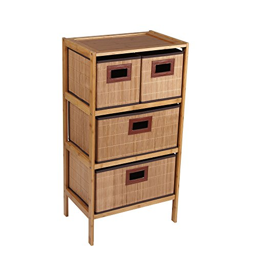 Household Essentials Bamboo 4-Drawer Storage Chest, Natural - Bamboo Chest Drawers