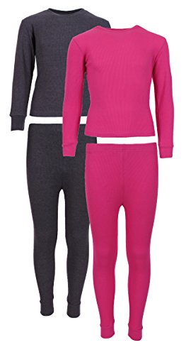 Sweet & Sassy Girl's 2-Pack Thermal Warm Underwear Top and Pant Set-Hot Pink/Charcoal-7/8 (Silk Long Kids Underwear)