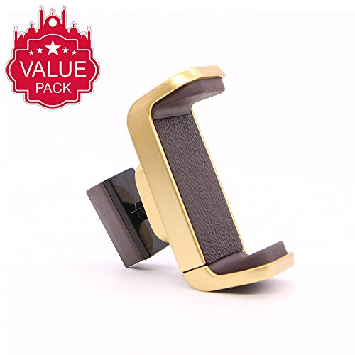 Price comparison product image Car Phone Holder, Car Air Vent Mount Holder for Android,  iOS and More.Luxurious Genuine Leather and stylish gold color chromium plating finished ac vent mount (Gold)