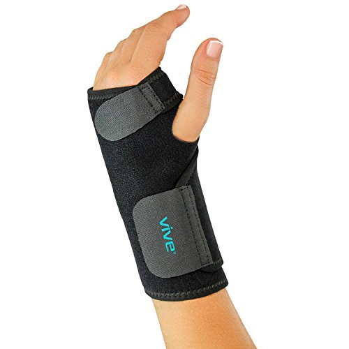Carpal Wrist Support (Wrist Brace by Vive - Universal Support for Carpal Tunnel, Tendonitis, Wrist Pain & Sports Injuries - Removable Splint - One Size Fits Most (Left Wrist))