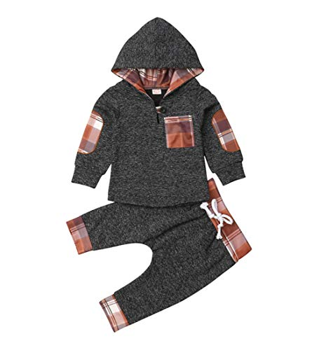 Toddler Infant Baby Boys Dinosaur Long Sleeve Hoodie Tops Sweatsuit Pants Outfit Set (2-3 Years, Style 6 Gray)