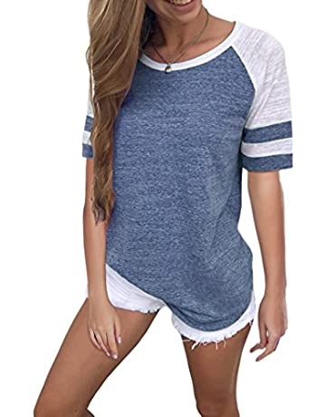 3ca9c4c4d1c06 Yidarton Women's Color Block Short Sleeve T Shirt Casual Round Neck Tunic  Tops(Dark Gray