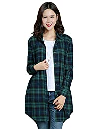 Benibos Womens Long Flannel Plaid Shirts