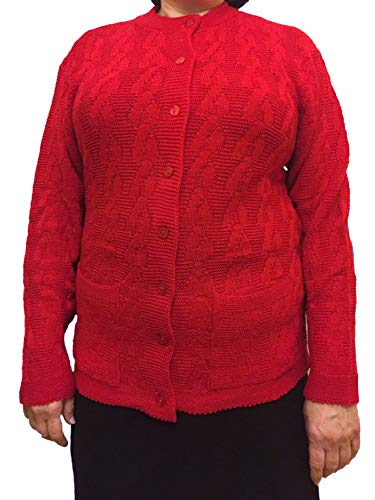 (Knit Minded/Gabriel Womens Long Sleeves Crew Neck Cable Knit Button Cardigan with Front Pockets Red 3X)