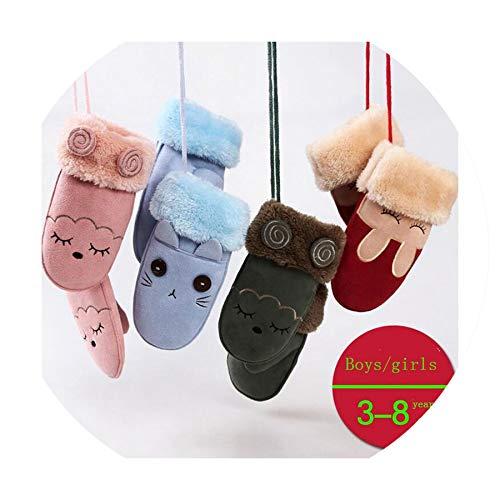 Children's Winter Thick Cashmere Warm Cartoon Rabbit Bear Suede Leather Gloves Boy/Girls