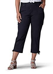 Lee Women's Plus Size Relaxed Fit Nikki Knit Waist Capri Pant, Black, 14w Medium
