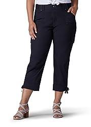 Lee Women's Plus Size Relaxed Fit Nikki Knit Waist Capri Pant, Black, 14w Medium