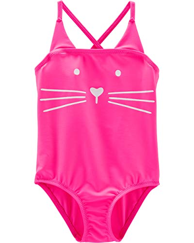 Osh Kosh Toddler Girls' One-Piece Swimsuit, Pink Cat, ()