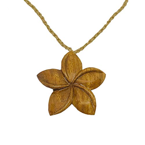 Hawaiian Jewelry Hand Carved Koa Wood Hawaii Plumeria Flower Necklace from Hawaii ()