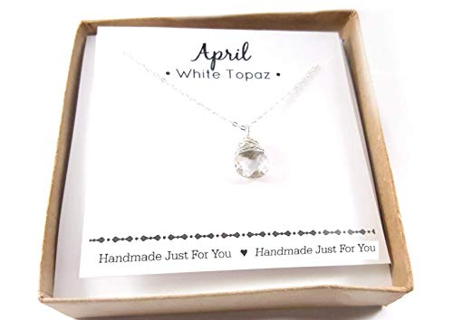 April Birthstone White Topaz Gemstone Necklace - Sterling Silver Briolette Teardrop Jewelry - Gift for Her