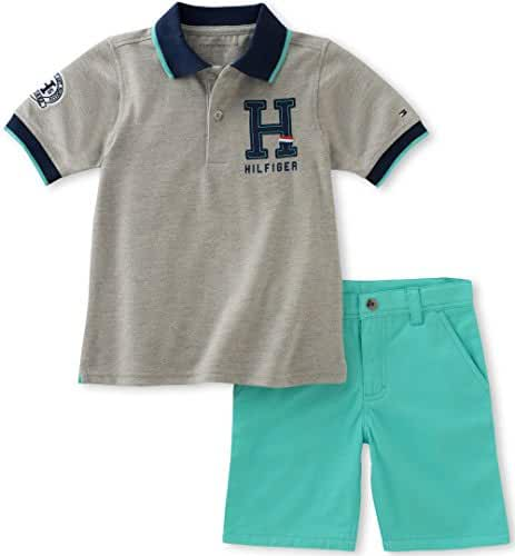 Tommy Hilfiger Boys' Baby 2 Pieces Polo and Plaid Short Sets