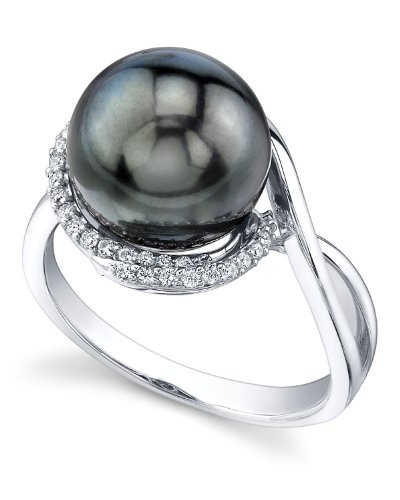 10mm Tahitian South Sea Cultured Pearl & Diamond Summer Ring in 14K Gold by The Pearl Source