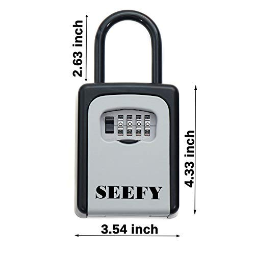 Key Lock Box, Portable Key Safe with 4-Digit Combination for House Key Storage, for Realtor Contractor Seniors Family and Friends SEEFY