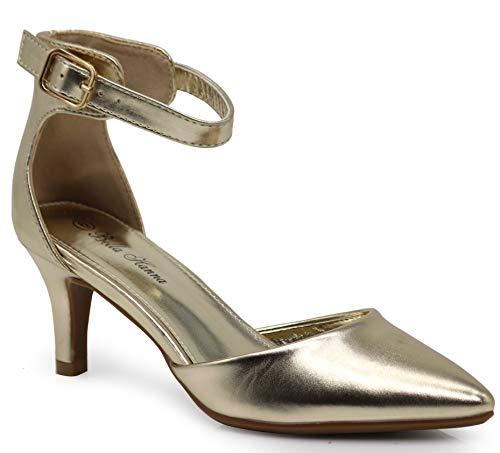Jupiter Women's Pointy Toe High Mid Heel Sexy Ankle Strap Sandals Ballerina Dress Pump Ballet Wedding Patent Harlow Pump Shoes (8.5 B(M) US, Mt Gold)