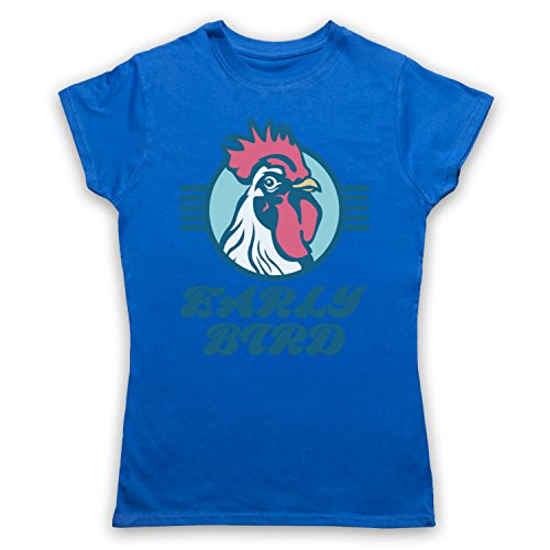 Early Bird Slogan Camiseta para Mujer Azul Real