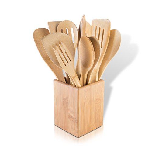 Modernhome 11 Piece Bamboo Kitchen Tool Set, Bamboo/Natural