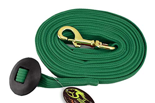 Southwestern Equine 24' Flat Cotton Web Lunge Line with Bolt Snap & Rubber Stop (Hunter Green, 24')