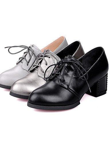 GGX/ Damenschuhe-High Heels-Kleid-Kunstleder-Blockabsatz-Absätze / Rundeschuh-Schwarz / Silber / Grau gray-us8 / eu39 / uk6 / cn39