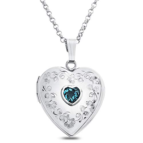 (Finejewelers Sterling Silver Heart Locket Pendant Necklace Genuine Swiss Blue Topaz December Birthstone)