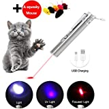 Cat Laser Pointer Interactive Dog Toy USB Rechargeable – 3 Mode Red Light   Flashlight   UV Light   Pet Training Exercise Tool with Extra Bonus of a Squeaky Mouse
