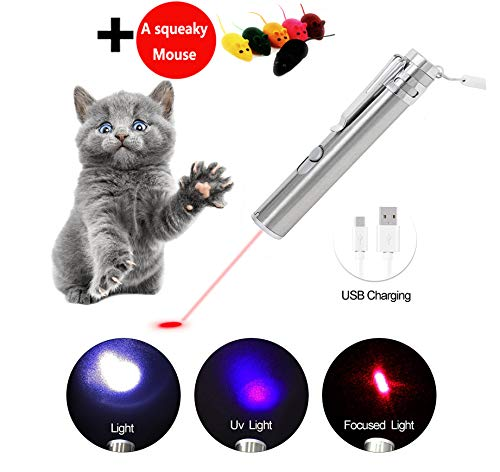 Pet Laser Pointer (Cat Laser Pointer Interactive Dog Toy USB Rechargeable – 3 Mode Red Light | Flashlight | UV Light | Pet Training Exercise Tool with Extra Bonus of a Squeaky Mouse)