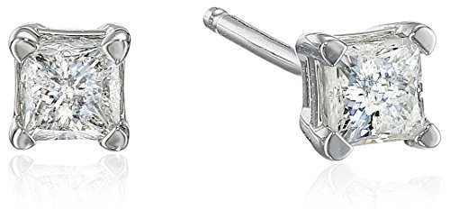 10k White Gold Princess Diamond Stud Earrings (1/4 cttw, J-K Color, I2-I3 Clarity)