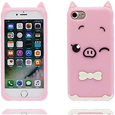 Carcasa iPhone 7 Plus, Cartoon 3D Pig, TPU Flexible Durable gel Poof de choque, case iPhone 7 Plus Funda Cover 5.5