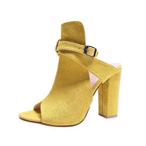 (JESPER Women Fashion Flock Peep Toe High Block Heel Sandals Shoes Wrap Ankle Strap Clogs)