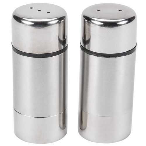 (American Metalcraft SP29 Salt and Pepper Shaker Set, Round, Stainless Steel, 3
