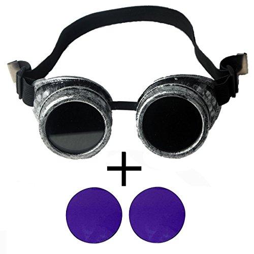 FIRSTLIKE Vintage Victorian Steampunk Goggles Sunglass Welding Cyber Punk - Sunglasses Cyberpunk