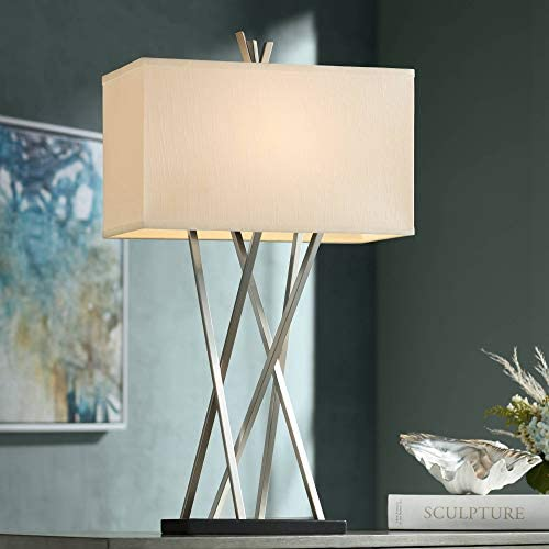 Modern Contemporary Art Deco Table Lamp Brushed Nickel Asymmetry White Linen Rectangular Box Shade