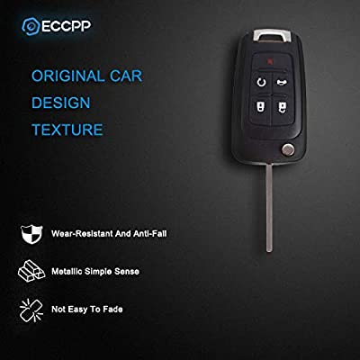 ECCPP Keyless Entry Remote Folding Key Fob Shell Case X2 Replacement Compatible with GMC Terrain, Buick Allure Lacrosse Regal Verano Encore, Chevy Camaro Cruze Malibu Equinox Sonic Impala OHT01060512: Automotive