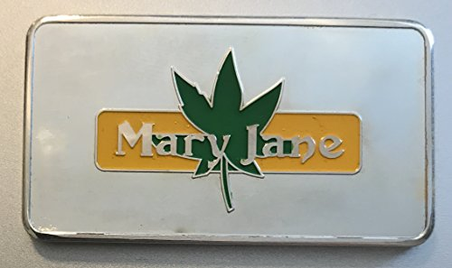 1 OZ Troy Mary Jane Marijuana 100 Mills .999 Fine Silver (Plated) Silver Bar