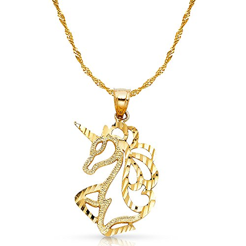 Ioka Jewelry - 14K Yellow Gold Unicorn Charm Pendant with 1.8mm Singapore Chain Necklace - 16