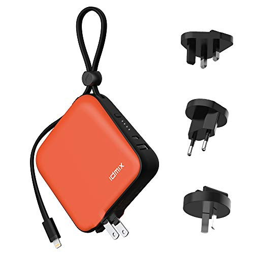 Portable Charger 10000mAh IDMIX 4-in-1 Power Bank USB Wall Charger Built-in US Foldable Plug with Extra UK EU AU Plug Adapters, Built-in MFI Lightning Cable, USB-C & USB-A Fast Charging Port (Orange) (Best Cell Phone In 10000 Range)