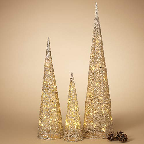 Lighted Set of 3 Gold Glitter Cone Christmas Trees - Light Up Holiday Decoration
