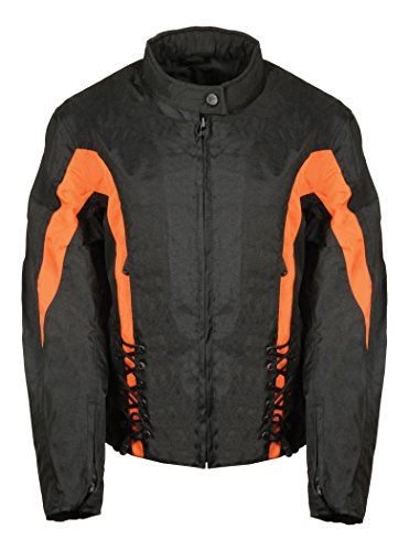 Bikers Edge Women's Nylon Zip-Out Lining Jacket with Lace (Black/Orange, ()