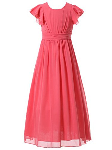 Happy Rose Flower Girl's Dress Prom Party Bridesmaid Dress Long Coral 18