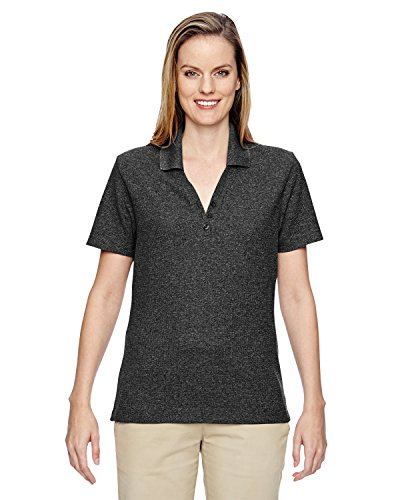 Ladies North End - North End Womens Excursion Nomad Perf Waffle Polo (75121) -BLACK 703 -3XL