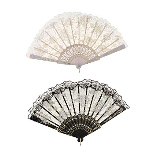(Agordo 2X Rose Flower Lace Chinese Folding Hand Fan Wedding Party Dance Pocket Fan)
