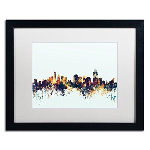 Cincinnati Ohio Skyline Blue by Michael Tompsett, White Matte, Black Frame (Cincinnati Ohio Usa Framed)